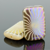 Rectangle (19x12mm) Ivory Opaque with Rainbow Finish and Laser Etched Sun Design