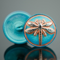 (18mm) Round Dragonfly Button Turquoise, Copper Wash with Silver Painted Dragonfly