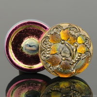 (18mm) Round Lacy 3 Flower Design Golden Orange Transparent with Antiqued Finish and Gold Paint