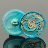 (18mm) Round Bird Design Aqua Blue Antiqued