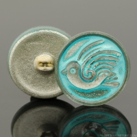 (18mm) Round Bird Design White Bronze with Turquoise Wash