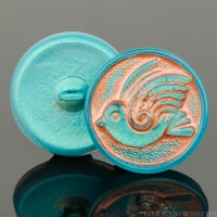 (18mm) Round Bird Design Aqua Green with Copper Wash