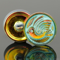 (18mm) Round Bird Design Gold Orange Transparent with Turquoise Wash