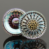 (18mm) Round Sunflower Golden Blue Iridescent with Antique Finish and Gold Paint