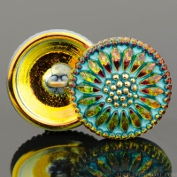 (18mm) Round Sunflower Golden Orange with Turquoise Wash