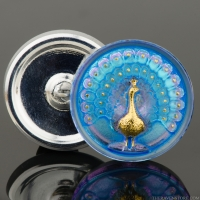 (33mm) Round Peacock Light Blue and Pink Iridescent with Sapphire Blue Wash and Gold Paint