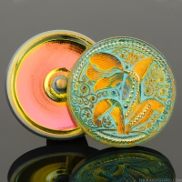 (33mm) Round Tulip Design Golden Orange with Turquoise Wash