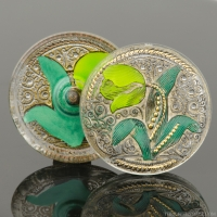 (33mm) Round Tulip Design Green and Yellow Painted Tulip on Crystal with Antiqued Finish and Gold Paint