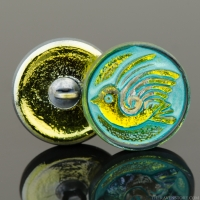 (18mm) Round Bird Design Yellow Iridescent with Turquoise Wash