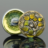 (18mm) Round Lacy 3 Flower Design Golden Yellow Iridescent Antiqued Finish with Gold Paint