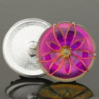 (36mm) Round Star Flower Purple/Pink Iridescent