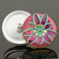 (36mm) Round Star Flower Pink Iridescent with Turquoise Wash and Gold Paint