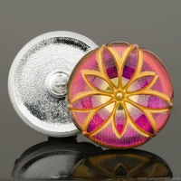 (36mm) Round Star Flower Pink Iridescent with Gold Wash and Gold Paint
