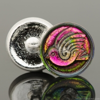 (18mm) Round Bird Design Hot Pink and Green Iridescent with Black Wash