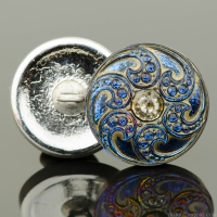 (18mm) Round Jewel Spiral Button Silver/Blue Iridescent with Antiqued White Bronze Finish