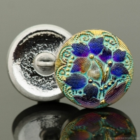 (18mm) Round Lacy 3 Flower Button Purple Iridescent with Turquoise Wash and Gold Paint
