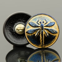 (18mm) Round Dragonfly Button Blue/Purple with Gold Wash