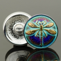 (18mm) Round Dragonfly Button Purple/Blue with Turquoise Wash and Gold Painted Dragonfly