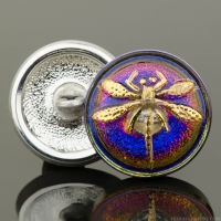 (18mm) Round Dragonfly Button Purple/Blue Iridescent with Gold Painted Dragonfly