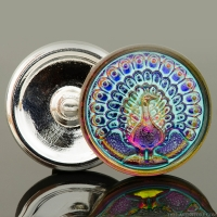 (33mm) Round Peacock Button Blue/Pink Iridescent with Turquoise Wash