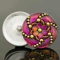 (32mm) Round Marcasite Flower Button Hot Pink/Purple with Black Wash and Gold Painted Accents