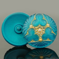 (36mm) Round Triple Clover Button Green Turquoise with Gold Wash and Silver Painted Accents - Matte Edge