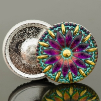 (32mm) Round Daisy Button Pink/Purple Iridescent with Turquoise Wash and Gold Painted Accents