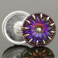 (32mm) Round Daisy Purple Iridescent with Antique Finish and Silver Paint