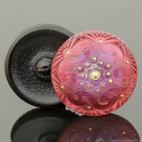 (27mm) Round Spiral Button Pink and Purple Mix with Gold Painted Accents
