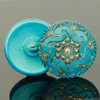 (27mm) Round Spiral Button Turquoise with Antiqued Finish and Gold Painted Accents