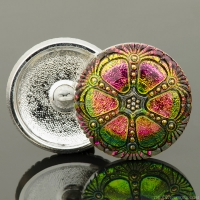 (27mm) Round Wheel Button Pink and Green Mix with Black Wash and Gold Painted Accents