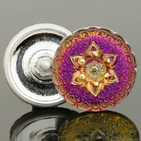(27mm) Round Lacy Star Button Purple/Gold Iridescent with Gold Painted Accents