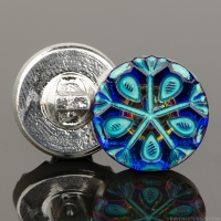 (18mm) Round Snowflake Tablecut Blue/Purple Iridescent with Turquoise Wash
