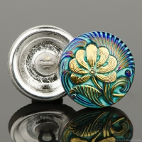 (18mm) Round Flower Design Purple/Blue Iridescent with Turquoise Wash and Gold Paint
