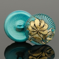 (18mm) Round Flower Design Aqua Blue with Antique Finish and Gold Paint