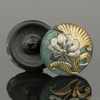 (18mm) Round Flower Design Tourmaline Green with Platinum Finish and Gold Paint