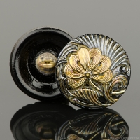 (18mm) Round Flower Design Hematite with Gold Paint