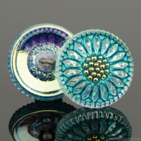 (18mm) Round Sunflower Aqua Iridescent with Turquoise Wash and Gold Paint