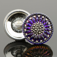 (18mm) Round Sunflower Purple/Blue Iridescent with Antique Finish and Platinum Paint