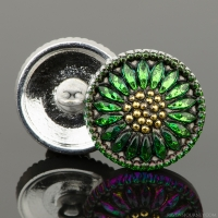 (18mm) Round Sunflower Green/Purple Iridescent with Antique Finish and Gold Paint