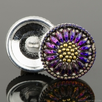 (18mm) Round Sunflower Purple/Blue Iridescent with Antique Finish and Gold Paint