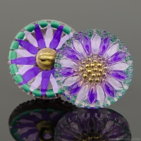 (18mm) Round Sunflower Purple Stripe with Teal Border and Gold Paint