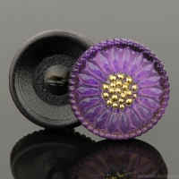 (18mm) Round Sunflower Purple with Gold Paint