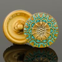 (18mm) Round Lacy Flower Gold with Turquoise Wash and Gold Paint