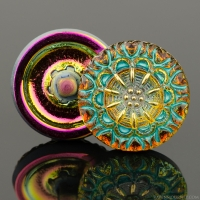 (18mm) Round Lacy Flower Golden Orange Iridescent with Turquoise Wash and Gold Paint Wash