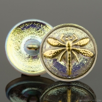 (18mm) Round Dragonfly Golden White Iridescent with Antique Finish and Gold Paint