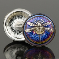 (18mm) Round Dragonfly Purple/Blue Iridescent with Platinum Paint