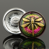 (18mm) Round Dragonfly Hot Pink/Green Iridescent with Antique Finish Gold Paint