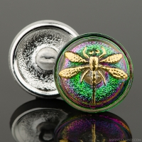 (18mm) Round Dragonfly Green/Purple Iridescent with Gold Paint