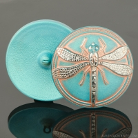 (41mm) Round Dragonfly Turquoise with Copper Wash and Silver Paint